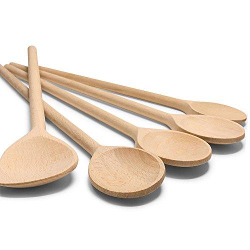 RSW24® 5-TLG Kochlöffel-Set aus kräftigem Hartholz, 25-35cm Länge, aus Buchenholz, Hartholz, Verschiedene Größen, Küchenutensilien, Back-löffel und Koch-Löffel