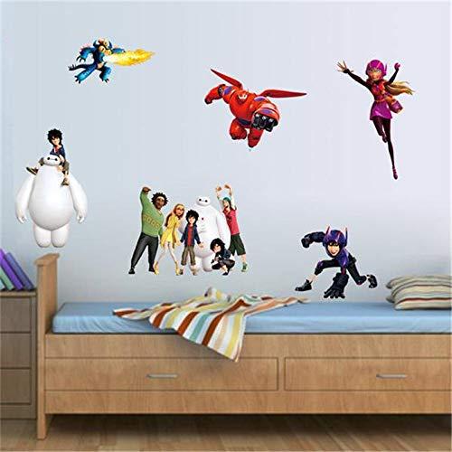 GVC Cartoon Big Hero Movie Wall Stickers for Kids Rooms Home Decor PVC Wall Decals DIY adesivo de Parede Plane Papel de Parede Art