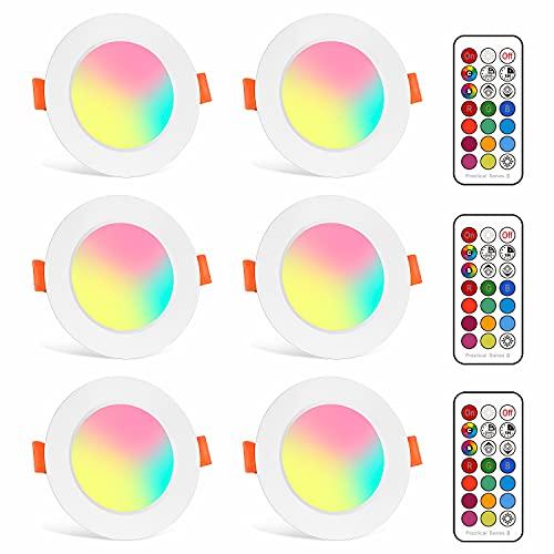 Foco Empotrable LED 5W Colores RGBW Cambio de Color 2700K Blanco Cálido Downlight Plafón Luz de Techo RGB Regulable casquillo Redondo 6 unidades
