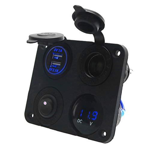 Voltímetro del panel del interruptor de palanca, voltímetro del panel del interruptor de palanca de 12V 4 LED USB dual 4.2A para el barco del coche(Azul)