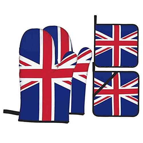 Flagge des Vereinigten Königreichs Ofenhandschuhe & Topflappen 4er-Set, widerstandsfähige heiße Pads mit rutschfesten Grillhandschuhen aus Polyester für Küche, Kochen