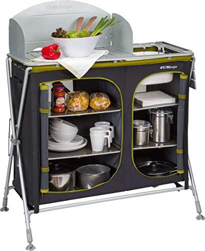 BERGER Campingküche Alu-Küchenbox faltbar Aufbauschrank Camping Aufbewahrungsbox Windschutz