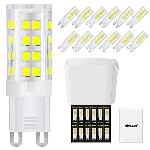 DiCUNO G9 LED Lampadine, 4W (equivalente alogeno 40W), 400LM, Daylight White (6000K), G9 Base, G9 Lampadine in Ceramica per Illuminazione Domestica, 12-Pack