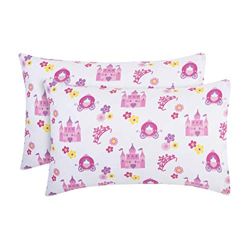 "EVERYDAY KIDS 2-Pack Toddler Travel Pillowcases -100% Soft Microfiber, Breathable and Hypoallergenic - 14"" by 20"" Kids Pillowcases fits Pillows 14x19, 13x18 or 12x16, Princess Storyland"