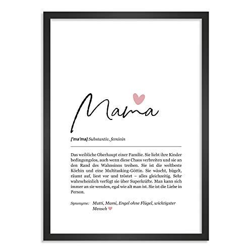 Himmelsflüsterer - Definition Poster & Kunstdrucke   Mama Geschenk   Wandbilder   Geschenke für Mama Geburtstag   Wanddeko Deko Wohnzimmer   Bilder mit Rahmen   DINA A4 mit Rahmen