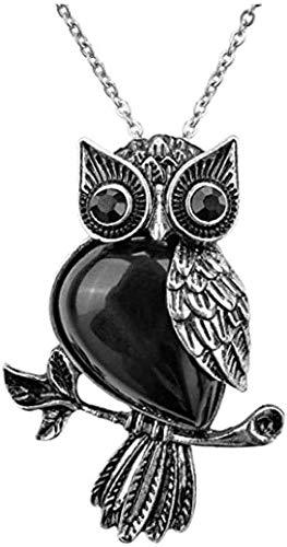 NC83 Regalos de búho Collar de búho Piedras de cristal curativas Collares pendientes para mujeres Hombres Amatista natural Cuarzo rosa Joyas de piedras preciosas para Reiki Energía espiritual Lucky