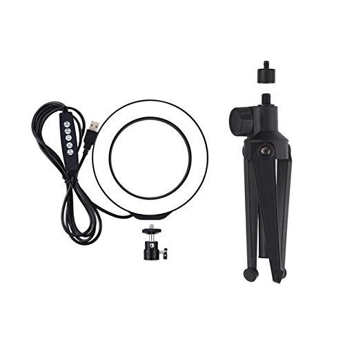 Selfie anillo de luz 12 cm 4.6 pulgadas RGBW 8 color regulable LED Video anillo luz con trípode soporte para transmisión en vivo teléfono
