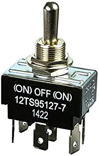 12TS95127-7, Micro Switch Toggle Switches: TS Series, Double Pole Double Throw (DPDT) 3 Position (Mom. On - Off - Mom. On).