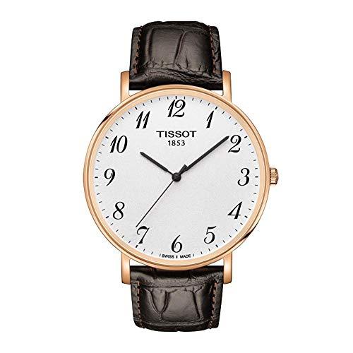 Tissot Herren Analog Quarz Everytime Large Armbanduhr mit Leder Armband T1096103603200