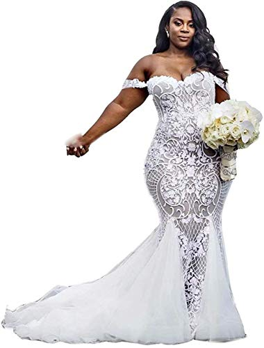 Wedding Dress a Line Lace Off the Shoulder Plus Size