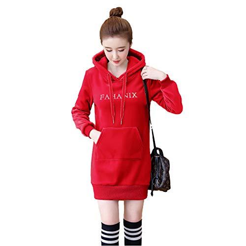 Sudadera con capucha para mujer, informal, suelta, tallas grandes, manga larga, color rojo, XXXL