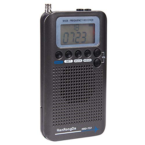 Almencla Multi Band Radio Receiver Scanners/Hand-held/Frequency Bands: AIR FM AM CB SW VHF Build in Rechargeable Battery Portable Travel Radio(Black)