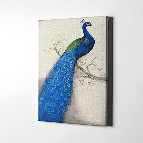 Lienzo decorativo para pared, diseño de pavo real, color azul, con hermosos animales, vintage, elegante, para decoración de pared, para dormitorio, paredes estéticas (40,6 x 60,9 cm, sin marco)