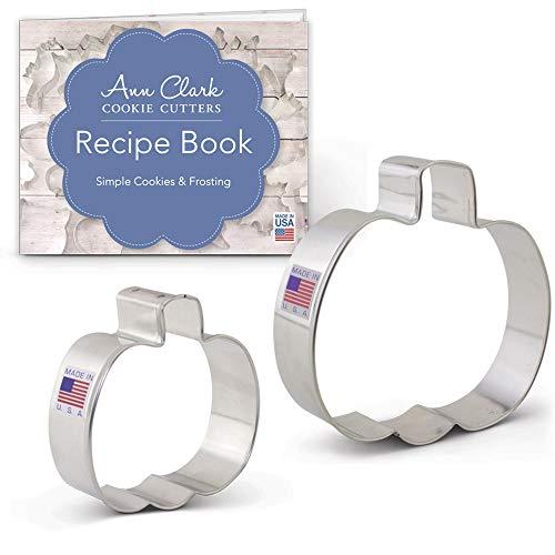 Ann Clark Cookie Cutters Set di formine per biscotti a tema autunnale/Halloween (2 pezzi) con ricettario - 7,8 e 10 cm - Acciaio prodotto negli Stati Uniti
