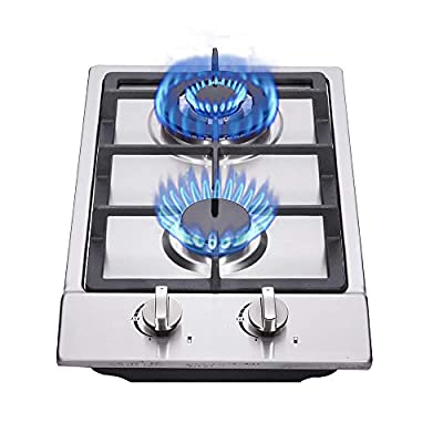 """12"""" Gas Cooktop 2 Burners, Drop-in Propane/Natural Gas Cooker Gas Stove LPG/NG Dual Fuel Stainless Steel Easy to Clean for RVs Home"""