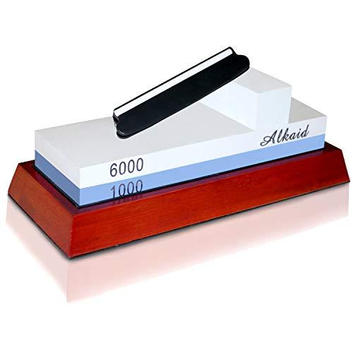 Knife Sharpening Stone kit 1000 6000 grit-Wet Stone best knife sharpener Set,Whetstone Non-slip Base,Waterstone Angle Guide, Water stone