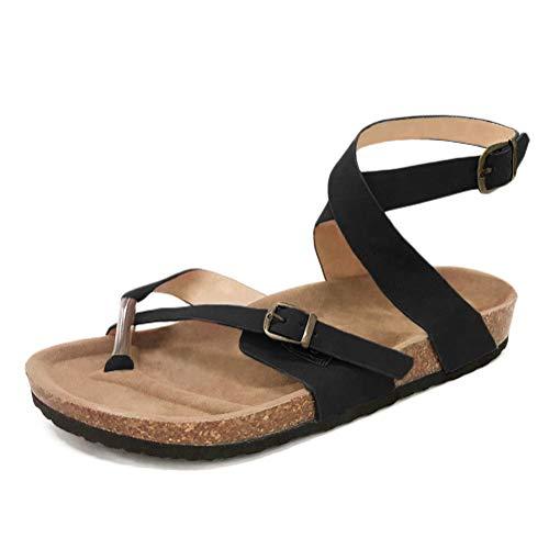 Minetom Zehentrenner Hausschuhe Damen Riemchen Sandalen Kork Fußbett Pantoletten Sandalen Schlappen Flache Schuhe Mit Metallschnalle Schwarz EU 37