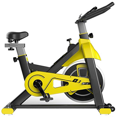 Indoor Cycling Bike Bicycle Fitness Gym Exercise Stationary Bikes Workout Home Indoor Sports (Yellow)