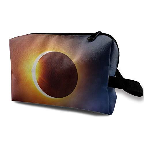XCNGG Bolsas de maquillaje para niñas Bolsa de almacenamiento para artistas Bolsas de aseo Bolsa de cosméticos multifunción Galaxy Space Solar Eclipse 2017 Florida