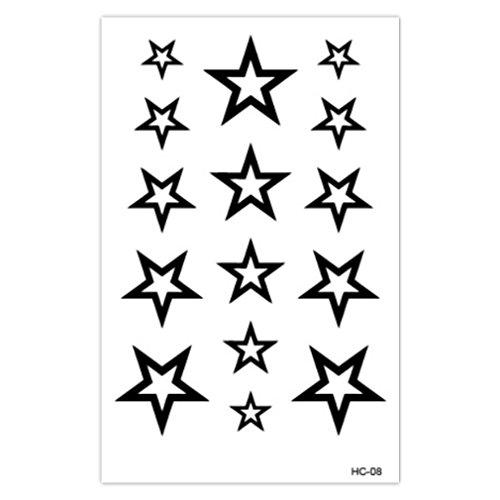 EROSPA® Tattoo-Bogen temporär - Sterne / Stars - Schwarz - 10,5 x 6,5 cm
