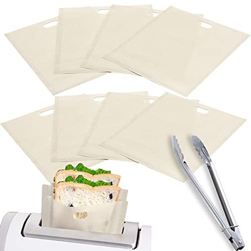 QAQGEAR Paquete de 10 bolsas para tostadora, antiadherentes, reutilizables, de teflón (17 x 19 cm / 6,7 x 7,5 pulgadas) para sándwiches, nuggets de pollo, panini, patatas fritas, pizza