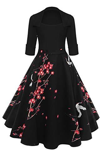 Axoe Damen 50er Jahre Kleider Rockabilly mit ärmel Freizeitkleid, Farbe 6, M