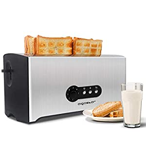 Aigostar Sunshine 30MXX - 4-Slice 1600W Toaster, Long Slots, Removable Crumb Tray, 7 Toast Settings, Stainless Steel Silver & Black BPA Free.