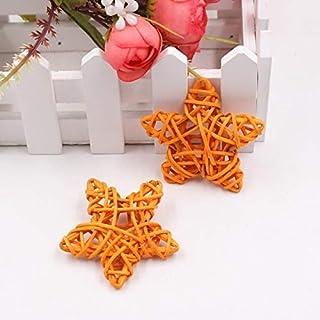 HUANGMENG DIY Accessoires 10 PCS 6cm Artificielle Paille Balle Bricolage Décoration rotin étoiles Décorations de Noël Accu...