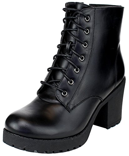 REFRESH Footwear Women's Lace-up Combat Chunky Stacked Heel Ankle Bootie,Black,8