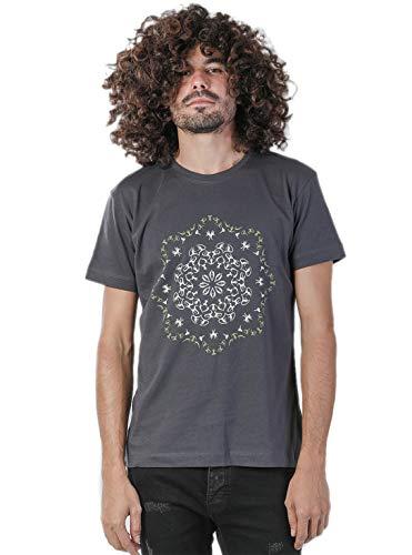 Street Habit T-Shirt da Uomo Stampa Psichedelica Grafica Fiore Loto Mandala Maglia Festival - Grigio - X-Large