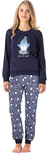 Merry Style Mädchen Jugend Schlafanzug MS10-193 (Marineblau Pinguine, 164)