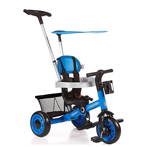 Kinderen Driewieler, 4 in 1 Stroll Trike met verstelbare duwbeugel, Afneembare Canopy, Retractable Voetplaat, Babies Trolley Multifunctionele Fiets Fiets (Color : Blue)