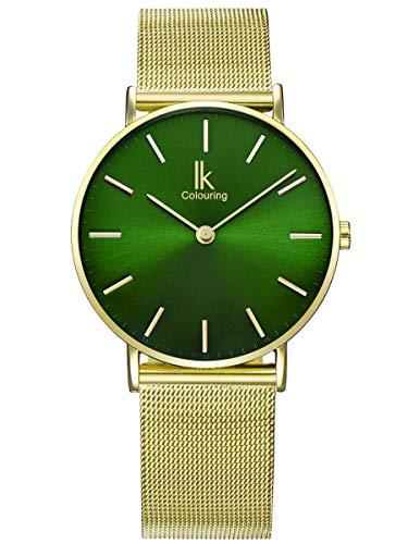 Alienwork Reloj Unisex Relojes Mujer Hombre Acero Inoxidable Banda de Malla Metálica Oro Analógicos Cuarzo Verde Impermeable Ultra-Delgada Slim Elegante