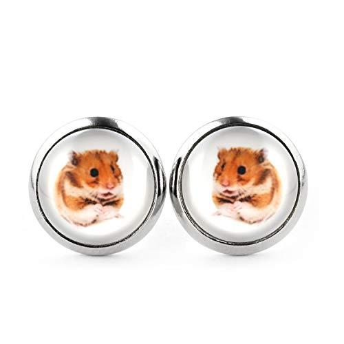 SCHMUCKZUCKER Damen Mädchen Ohrstecker Motiv Hamster Edelstahl Ohrringe Silber Weiß 12mm