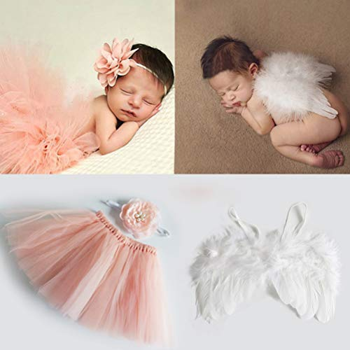 Newborn Photography Props Outfits Girl Fluffy Peach Pink Tutu Skirt Flower Newborn Headbands + Infant Baby Angel Wings Feather - Baby Girls Clothes for Newborn Photo Shoot Christmas Costumes