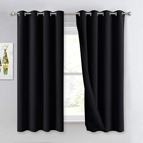 """NICETOWN Sound Blocking Black Out Curtains for Nursery Bedroom, Full Blackout Noise Preventing Thermal Insulated Drapes, Noise Barrier Privacy Panels for Kicthen / Cafe (Black, 52"""" Wide x 63"""" Long)"""