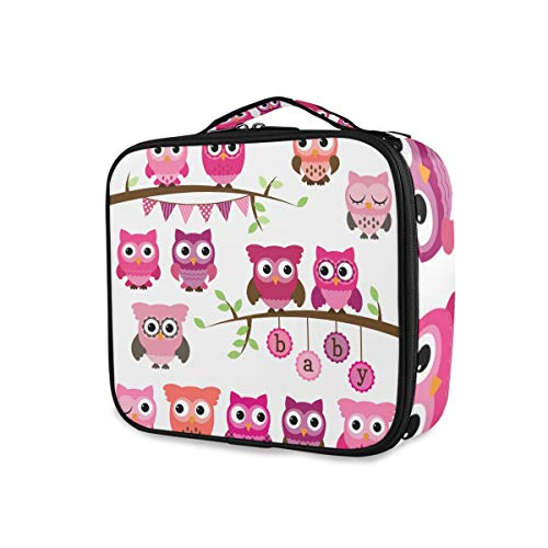 Trousse de toilette Outils de rangement Cosmetic Train Case Travel Portable Makeup Bag Ladies Cute Cartoon Owl