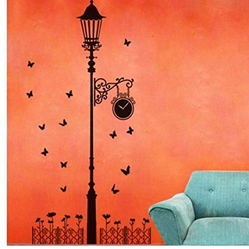 Beito Wandtattoo Vinyl-Aufkleber-abziehbilder Kunst-dekor-lampen-pfosten Silhouette Straßenlaterne Lichtmast Laterne Schulraum-Kindergarten-Wand-Aufkleber
