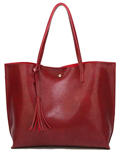 Women s Soft Faux Leather Tote Shoulder Bag from Dreubea  Big Capacity Tassel Handbag Red New Style