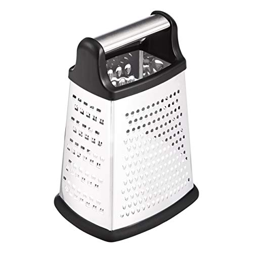AmazonBasics 4-Sided Stainless Steel Box Grater with Storage Container, 9-Inch