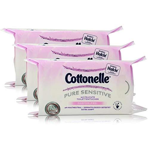 3x Hakle Cottonelle feuchte Toilettentücher Parfüm-Frei 42 Tücher, Nachfüller