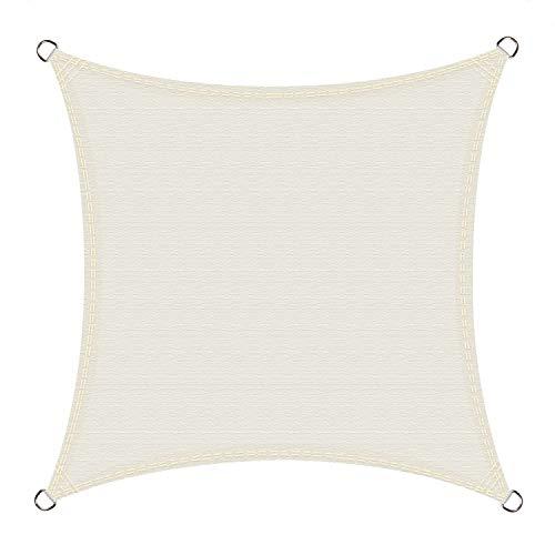 Cool Area Toldo Vela de Sombra Impermeable Cuadrado 5 x 5 Metros protección UV, Color Crema