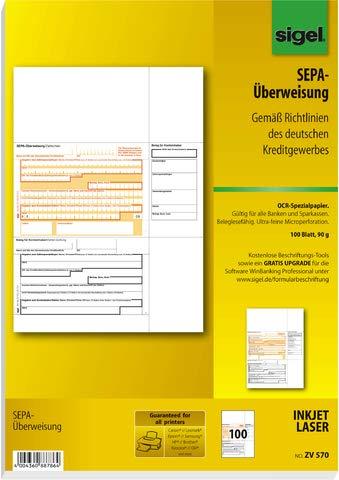 SIGEL Bankformular, SEPA-Überweisung, A4 (100 Blatt), Sie erhalten 1 Packung á 100 Blatt