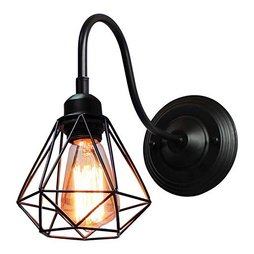 LHYLHY Luz de Pared LED Lámpara de Pared Industrial Lámpara de Pared Negro E27 Iron Pantalla de Hierro Jaula Guard Sconce Indoor Iluminación de Accesorios Bedroom (Lampshade Color : A)