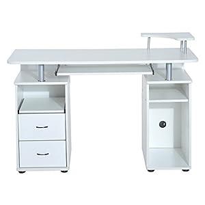 HOMCOM Mesa de Ordenador PC Escritorio de Oficina para Hogar Oficina Estudio Madera 120x55x85cm Blanco