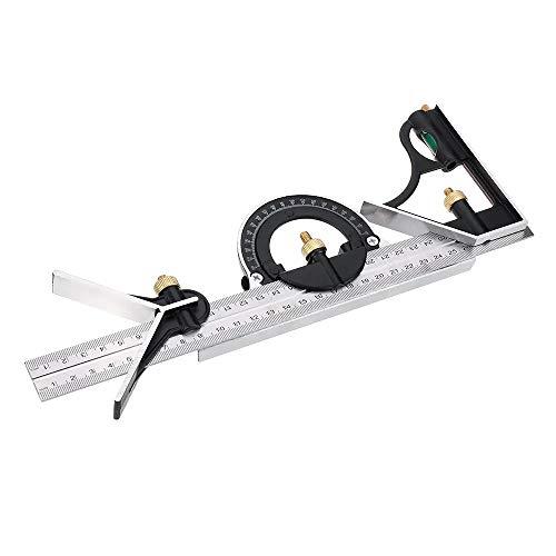 Transportador de ángulos profesional, Multifunción Escuadra combinada Regla elevada precisión prolongador de carpintero herramienta de medición de 300 mm / 600 mm Para medición de carpintería