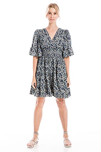 Max Studio Women's Petite Crepe Sleeve Tiered Short Dress, Black/Blue/Teal Ditsy Wall, Large