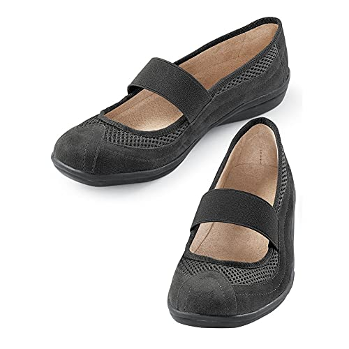 Comfortable Slip-On Mary Jane Shoes, Wide Width - Easy On/Off Design with The Stretchable Strap and Lightweight Flexible Rubber Sole, Black, 11