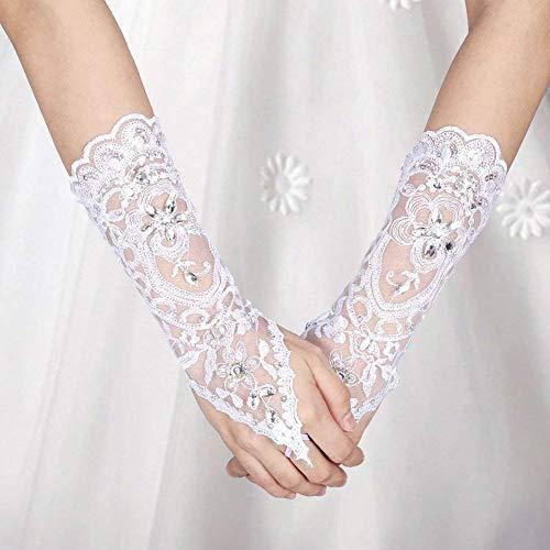 Brauthandschuhe Spitzenhandschuhe Hochzeit Braut Hochzeitshandschuhe Brautkleid Spitze Fingerlose Handschuhe mit Spitze Blumen für Hochzeitsfest ( Farbe : Weiß ) - 7