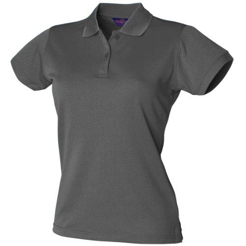 Henbury Damen Coolplus® Polo-Shirt / Polohemd, (Large) (Kohlegrau)